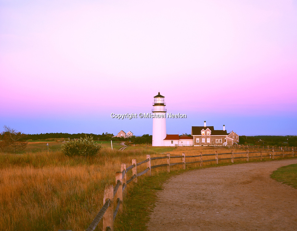Highland Lighthouse in Truro, Cape Cod at sunrise