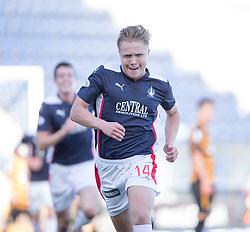 Falkirk's Peter Grant scoring cele their goal.<br /> half time : Falkirk 1 v 1 Alloa Athletic, Scottish Championship game played 4/10/2014 at The Falkirk Stadium.