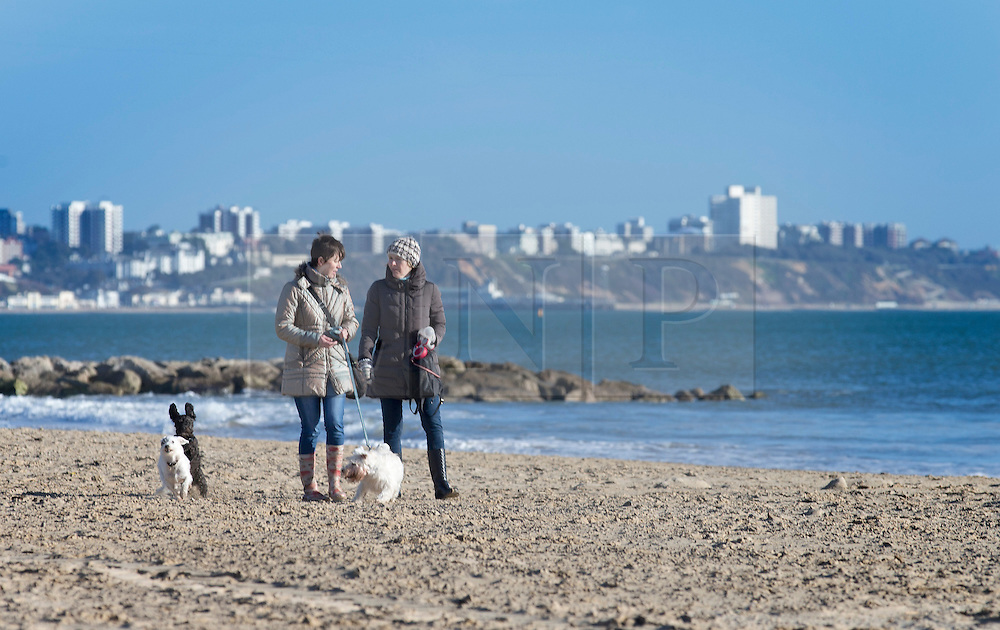 © Licensed to London News Pictures. 28/01/2016. Sandbanks, UK. Dog walkers take a stroll in the sunshine at Sandbanks in Dorset. Parts of the UK are enjoying a spell of sunshine after days of storms. Photo credit: Peter Macdiarmid/LNP