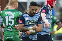 September 23, 2017 - Galway, Ireland - Willis Halaholo of Cardiff celebrates after his try during the Guinness PRO14 Conference A match between Connacht Rugby and Cardiff Blues at the Sportsground in Galway, Ireland on September 23, 2017  (Credit Image: © Andrew Surma/NurPhoto via ZUMA Press)
