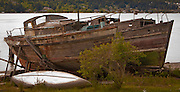 A pair of derilict wooden boats sit on shore near the waterway Port Orchard in Puget Sound, Washington state, USA