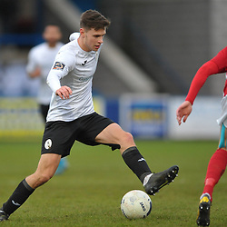 TELFORD COPYRIGHT MIKE SHERIDAN Ryan Barnett of Telford takes on Connor Franklin of Brackley during the Vanarama Conference North fixture between AFC Telford United and Brackley Town at the New Bucks Head on Saturday, January 4, 2020.<br /> <br /> Picture credit: Mike Sheridan/Ultrapress<br /> <br /> MS201920-039