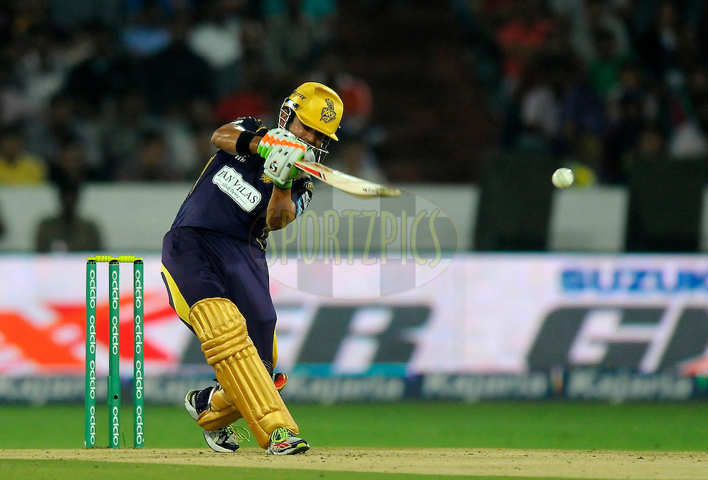 Gautam Gambhir captain of Kolkata Knight Riders bats during match 7 of the Oppo Champions League Twenty20 between the Kolkata Knight Riders and the Lahore Lions held at the Rajiv Gandhi Cricket Stadium, Hyderabad, India on the 21st September 2014<br /> <br /> Photo by:  Pal Pillai / Sportzpics/ CLT20<br /> <br /> <br /> Image use is subject to the terms and conditions as laid out by the BCCI/ CLT20.  The terms and conditions can be downloaded here:<br /> <br /> http://sportzpics.photoshelter.com/gallery/CLT20-Image-Terms-and-Conditions-2014/G0000IfNJn535VPU/C0000QhhKadWcjYs
