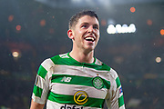 Ryan Christie (#17) of Celtic FC is all smiles after the second goal for Celtic during the Europa League group stage match between Celtic and RP Leipzig at Celtic Park, Glasgow, Scotland on 8 November 2018.