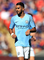 "Manchester City's Riyad Mahrez during the Community Shield match at Wembley Stadium, London. PRESS ASSOCIATION Photo. Picture date: Sunday August 5, 2018. See PA story SOCCER Community Shield. Photo credit should read: Adam Davy/PA Wire. RESTRICTIONS: EDITORIAL USE ONLY No use with unauthorised audio, video, data, fixture lists, club/league logos or ""live"" services. Online in-match use limited to 75 images, no video emulation. No use in betting, games or single club/league/player publications."
