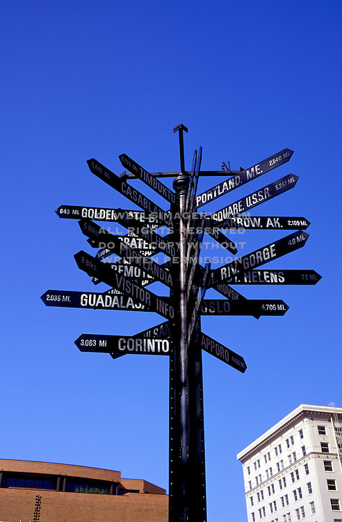 Image of direction signs in downtown Portland, Oregon, Pacific Northwest