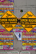 General election posters for the Liberal Democrat election candidate Simon Hughes, on 1st June 2017, in Walworth, south London, England. As a former Liberal Democrat MP, Hughes hopes to regain his seat in the forthcoming general election from Labour, in the constituency of Bermondsey and Old Southwark.