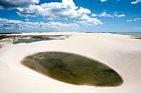 sand dune with oasis lagoon of tatajuba near jericoacoara in ceara state in brazil
