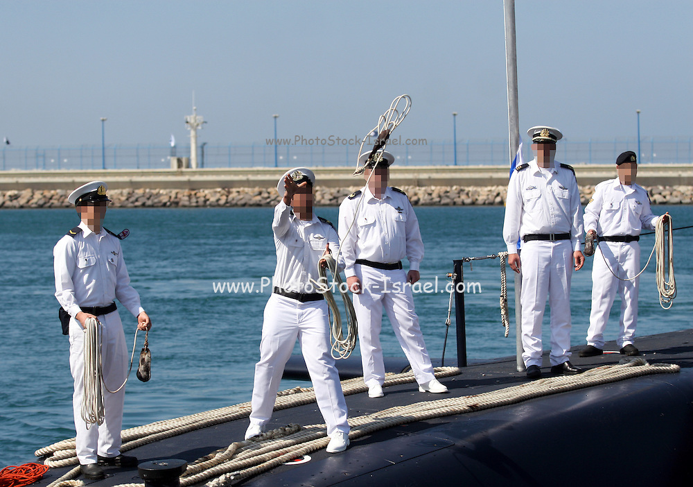 The arrival of the new Israeli Navy INS Tannin (Dolphin class) submarine from Germany in Haifa on September 23 2014