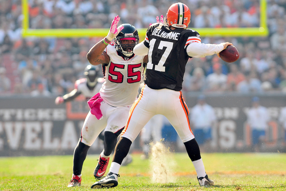 Oct. 10, 2010; Cleveland, OH, USA; Atlanta Falcons defensive end John Abraham (55) puts pressure on Cleveland Browns quarterback Jake Delhomme (17) during the third quarter at Cleveland Browns Stadium. The Falcons beat the Browns 20-10. Mandatory Credit: Jason Miller-US PRESSWIRE