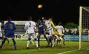 Nathan Baxter punches clear the danger during the FA Youth Cup match between U18 AFC Wimbledon and U18 Chelsea at the Cherry Red Records Stadium, Kingston, England on 9 February 2016. Photo by Michael Hulf.