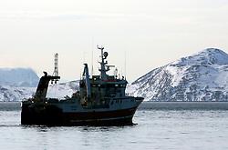 Norway Hammerfest 24MAR07 - Big trawler leaves port from  Hammerfest, the world's most northerly town...jre/Photo by Jiri Rezac..© Jiri Rezac 2007..Contact: +44 (0) 7050 110 417.Mobile:  +44 (0) 7801 337 683.Office:  +44 (0) 20 8968 9635..Email:   jiri@jirirezac.com.Web:    www.jirirezac.com..© All images Jiri Rezac 2007 - All rights reserved.