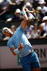 June 2, 2018 - Paris, France - Rafael Nadal of Spain plays a forehand during his mens singles third round match against Richard Gasquet of France during day seven of the 2018 French Open at Roland Garros on June 2, 2018 in Paris, France. (Credit Image: © Mehdi Taamallah/NurPhoto via ZUMA Press)