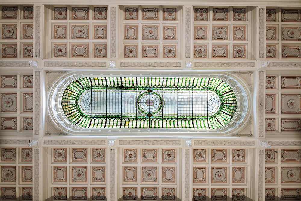 Staunton Virginia bank ceiling sunken panel in the shape of a square, rectangle, or octagon in a ceiling, soffit or vault