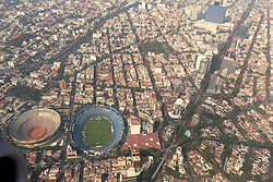 MEXICO CITY, MEXICO - Saturday, January 7, 2017: An aerial view of Estadio Azul, home to Liga MX team Cruz Azul Football Club (Blue Cross). Picture taken before the league game against Necaxa. (Pic by Concepcion Valadez/Propaganda)