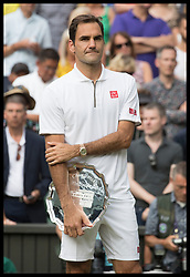 July 14, 2019 - London, London, United Kingdom - Image licensed to i-Images Picture Agency. 14/07/2019. London, United Kingdom. Dejected Roger Federer as The  Duchess of Cambridge presents the MenÃ•s Singles Trophy to Novak Djokovic on the last day of the Wimbledon Tennis Championships in London. (Credit Image: © Stephen Lock/i-Images via ZUMA Press)