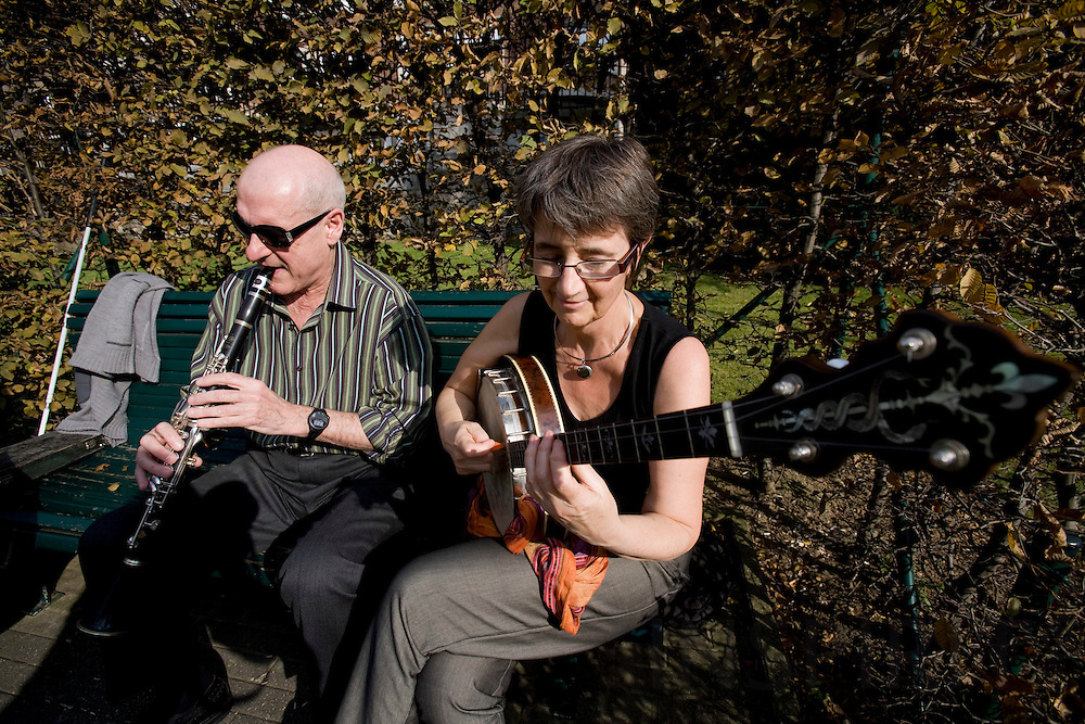 BRUSSELS - BELGIUM - 14 OCTOBER 2008 -- Some retired people have formed a small orchestra playing in jazz in a Brussels park. Photo: Erik Luntang/INSPIRIT Photo.