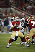 San Francisco 49ers quarterback Nick Mullens (4) in action during the 2018 NFL preseason week 4 football game against the Los Angeles Chargers on Thursday, Aug. 30, 2018 in Santa Clara, Calif. The Chargers won the game 23-21. (©Paul Anthony Spinelli)