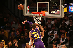 February 27, 2019 - Los Angeles, CA, U.S. - LOS ANGELES, CA - FEBRUARY 27: Los Angeles Lakers Forward Mike Muscala (31) blocks New Orleans Pelicans Forward Anthony Davis (23) shot during the first half of the New Orleans Pelicans versus Los Angeles Lakers game on February 27, 2019, at Staples Center in Los Angeles, CA. (Photo by Icon Sportswire) (Credit Image: © Icon Sportswire/Icon SMI via ZUMA Press)