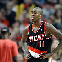 16 March 2012: Portland Trail Blazers guard Jamal Crawford (11) rests during the Portland Trail Blazers 100-89 victory over the Chicago Bulls at the United Center, Chicago, Illinois, USA.
