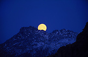"""The moon rises behind Bavella mountain..The most famous Corsican Easter procession takes place in Sartène on the evening of Good Friday. A masked penitent, the identity of whom is only known to the local parish priest, acts out the Stations of the Cross. With his feet in chains and wearing a hood and a red vestment, the """"Catenacciu"""" (""""the chained one"""" in the Corsican language) walks through the town carrying his heavy cross amid a contemplative crowd. A ceremony full of religious and mystical fervour. In Bonifacio the Catholic brotherhoods of pilgrims, confraternities, march along the walls of the fortified city for Easter week and in Cargese there is the orthodox monastery's Easter celebrations where shotguns are fired and prayers recited on the cliff edge and in the church. Children collect the empty spent cartridges as souvenirs. Corsica itself is a mixture of steep rocky mountains, ice and snow capped at their highest peaks all year around, isolated villages nestled into the hills, fishing ports, lobster fishermen, and historic sites dating back to neolothic times."""