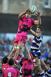 ames Down of London Welsh wins the ball at a lineout - Photo mandatory by-line: Patrick Khachfe/JMP - Mobile: 07966 386802 01/11/2014 - SPORT - RUGBY UNION - Bath - The Recreation Ground - Bath Rugby v London Welsh - LV= Cup