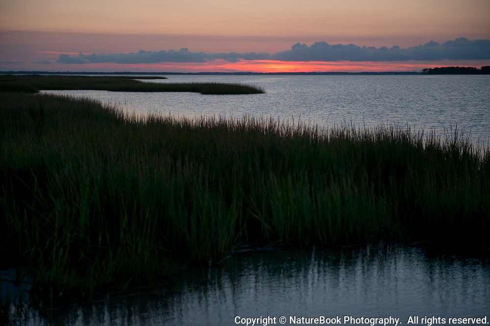 Nightfall at Chesapeake Bay, with only a sliver of sunset remaining to provide light.
