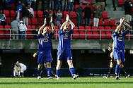 23.07.2005, Ratina, Tampere, Finland..UEFA Intertoto Cup, 3rd round, 2nd leg match.Tampere United v S.S. Lazio.TamU:n Ville Lehtinen, Janne R?s?nen ja Kari Sainio kiitt?v?t kannustuksesta..©Juha Tamminen.....ARK:k