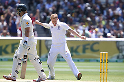© Licensed to London News Pictures. 27/12/2013. Ben Stokes celebrates after getting the wicket of Shane Watson during Day 2 of the Ashes Boxing Day Test Match between Australia Vs England at the MCG on 27 December, 2013 in Melbourne, Australia. Photo credit : Asanka Brendon Ratnayake/LNP