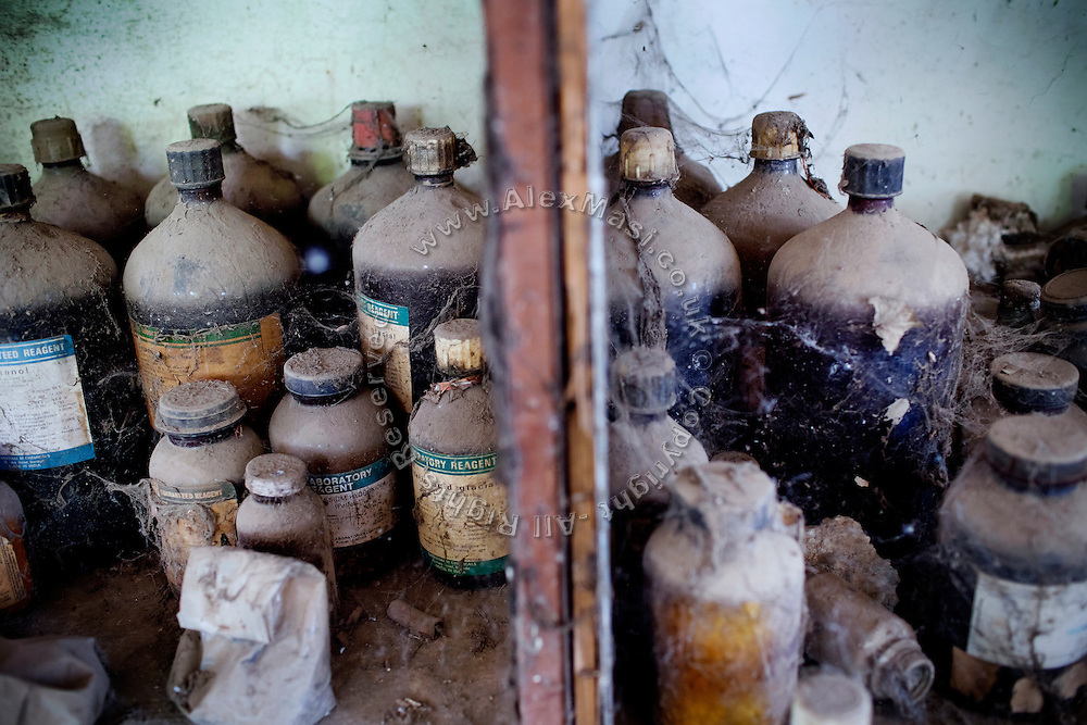 Chemical products are lying in the packaging room of the abandoned Union Carbide (now DOW Chemical) industrial complex, still standing in Bhopal, Madhya Pradesh, India, site of the infamous 1984 gas tragedy. The poisonous cloud that enveloped Bhopal left everlasting consequences that today continue to consume people's lives.