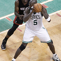 03 June 2012: Boston Celtics power forward Kevin Garnett (5) posts up Miami Heat center Joel Anthony (50) during the Boston Celtics 93-91 overtime victory over the Miami Heat, in Game 4 of the Eastern Conference Finals playoff series, at the TD Banknorth Garden, Boston, Massachusetts, USA.