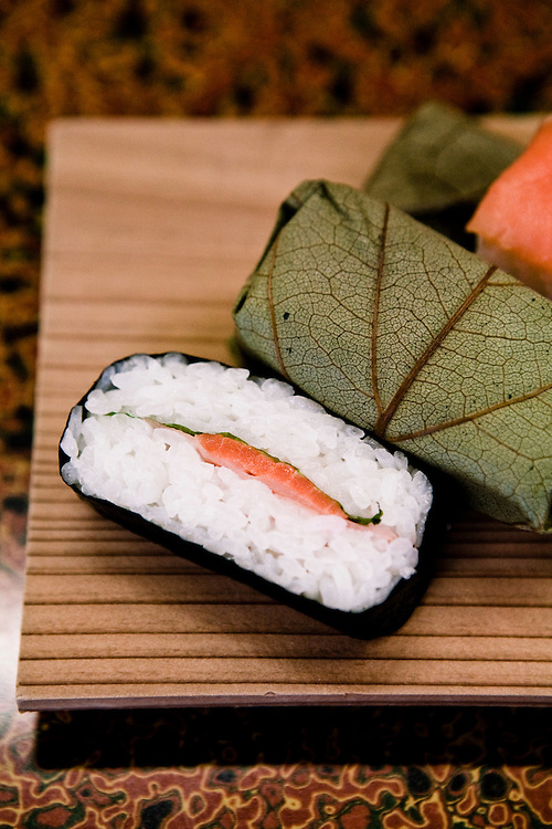 Nara style sushi in Japanese persimmon leaves.
