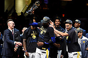 Jun 8, 2018; Cleveland, OH, USA; NBA commissioner Adam Silver presents the Bill Russell NBA Finals Most Valuable Player Award to Golden State Warriors forward Kevin Durant (35) after beating the Cleveland Cavaliers in game four of the 2018 NBA Finals at Quicken Loans Arena.