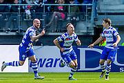ALKMAAR - 01-05-2016, AZ - de Graafschap, AFAS Stadion, 4-1, De Graafschap speler Mark Diemers heeft de 0-1 gescoord, De Graafschap speler Bryan Smeets (l), juichen, juicht