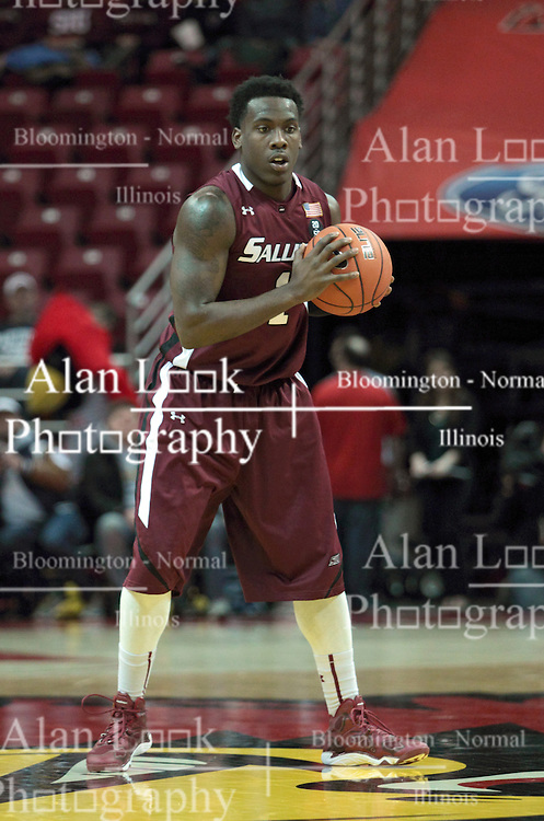 05 January 2014: Jalen Pendleton controls the play from near half court during an NCAA  mens basketball game between the Salukis of Southern Illinois and the Illinois State Redbirds  in Redbird Arena, Normal IL.  Final score ISU 66, SIU 48