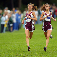 (SPORTS) Holmdel 10/15/2002   RBR's s Trotter sisters Amanda and Katy (Kerwick will confirm who was winning)  run in nearly perfect stride, arm position and wave of the hair as they place 1st and 2nd in the race.    Michael J. Treola Staff Photographer....MJT