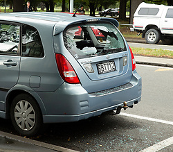March15, 2019 - Christchurch, Canterbury, New Zealand - Shattered car rear window following a shooting resulting in multiple fatalities and injuries at the Masjid Al Noor , Deans Avenue, Christchurch,New Zealand. At least 49 people were killed and 20 seriously injured in mass shootings at two mosques in the New Zealand city of Christchurch. 48 people, including young children with gunshot wounds, were taken to hospital. Three people were arrested in connection with the shootings. (Credit Image: © Martin Hunter/SNPA via ZUMA Wire)