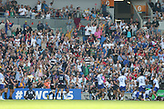 Fans celebrate a try during the Rugby World Cup 2015 match between Samoa and USA at the Brighton Community Stadium, Falmer, United Kingdom on 20 September 2015.