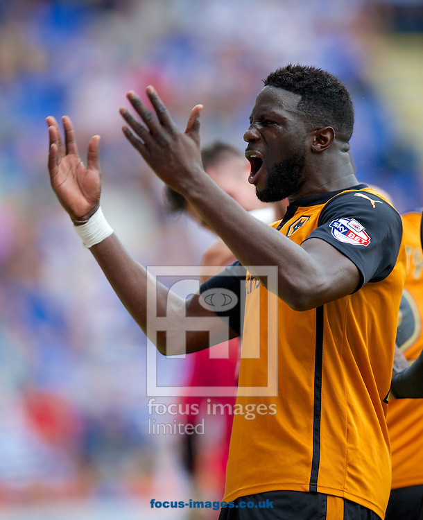 Leon Clarke of Wolverhampton Wanderers  encourages the fans after they take the lead 1-2 during the Sky Bet Championship match at the Madejski Stadium, Reading<br /> Picture by Alan Stanford/Focus Images Ltd +44 7915 056117<br /> 28/09/2014