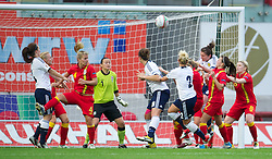 LLANELLI, WALES - Saturday, September 15, 2012: Scotland's Joanne Love scores the first goal against Wales during the UEFA Women's Euro 2013 Qualifying Group 4 match at Parc y Scarlets. (Pic by David Rawcliffe/Propaganda)