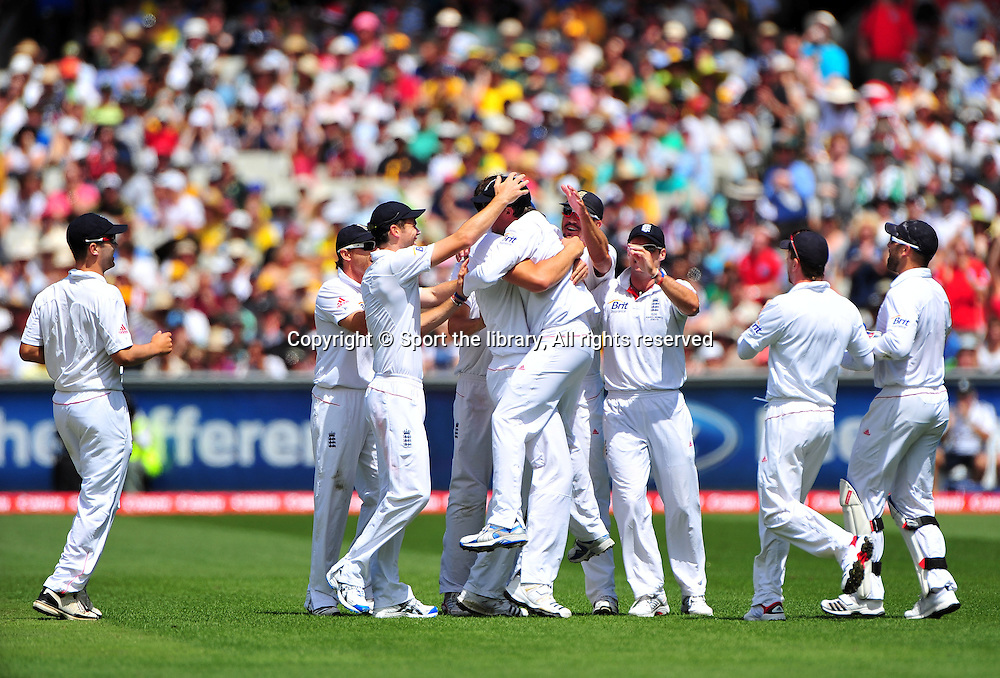 Graeme Swann (ENG) celebrates the <br /> wicket of Australian Capt, Ricky Ponting<br /> Australia vs England<br /> Cricket - Ashes Test 3 / Melbourne<br /> Melbourne Cricket Ground / MCG<br /> Sunday 26 December 2010<br /> &copy; Sport the library/Jeff Crow