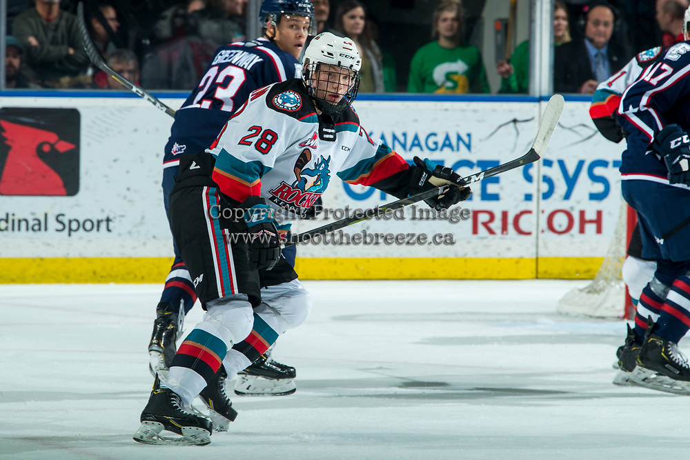 KELOWNA, BC - FEBRUARY 12: Dylan Wightman #28 of the Kelowna Rockets looks for the pass during second period against the Tri-City Americans at Prospera Place on February 8, 2020 in Kelowna, Canada. (Photo by Marissa Baecker/Shoot the Breeze)