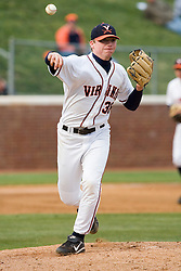 Virginia Cavaliers pitcher Andrew Carraway (38) throws a pickoff attempt to first base against Duke.  The Virginia Cavaliers Baseball team fell to the Duke Blue Devils 13-9 in the second of a three game series at Davenport Field in Charlottesville, VA on April 7, 2007.