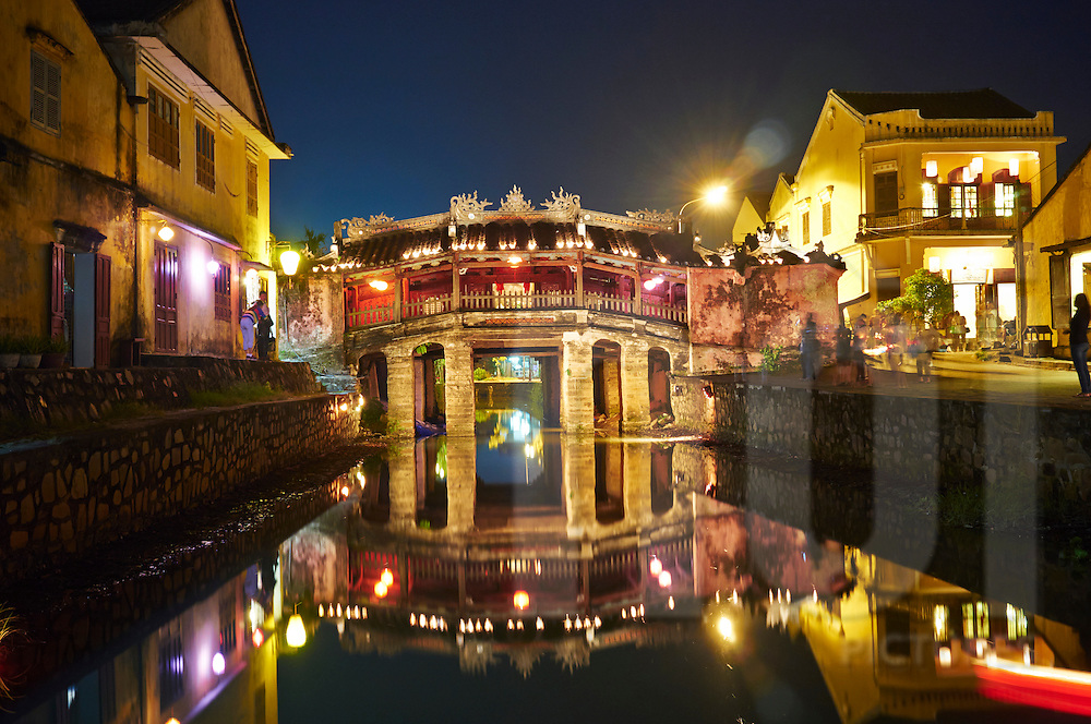 View at night of the famous Japanese bridge landmark in Hoi An, Vietnam, Southeast Asia