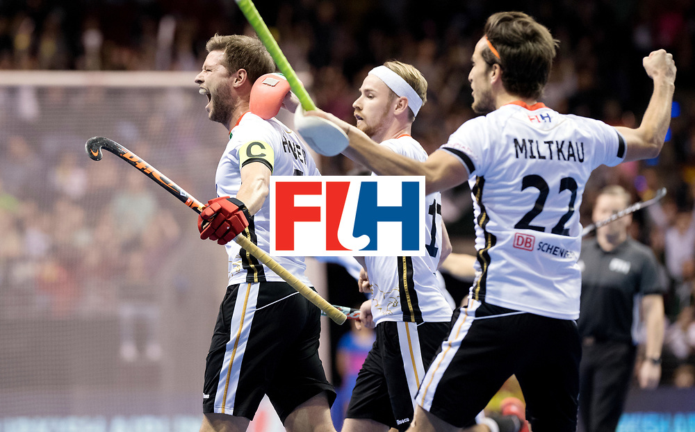 BERLIN - Indoor Hockey World Cup<br /> Final: Germany - Austria<br /> foto: Martin H&auml;ner scored the first goal.<br /> WORLDSPORTPICS COPYRIGHT FRANK UIJLENBROEK