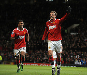 Dimitar Berbatov (Man Utd)  celebrates after scoring fifth goal during the Barclays Premier League match between Manchester United and Blackburn Rovers at Old Trafford on November 27, 2010 in Manchester, England.