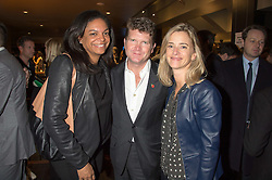 Left to right, CICI KURZMAN, The US Ambassador to the UK MATTHEW BARZUN and his wife BROOKE BROWN BARZUN at the Al Films and Warner Music Screening of Kill Your Friends held at the Curzon Soho Cinema, 99 Shaftesbury Avenue, London on 27th October 2015.
