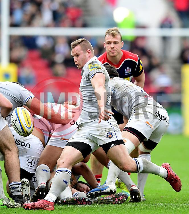Chris Cook of Bath Rugby kicks the ball  - Mandatory by-line: Joe Meredith/JMP - 26/02/2017 - RUGBY - Ashton Gate - Bristol, England - Bristol Rugby v Bath Rugby - Aviva Premiership