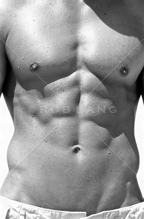 Detail of Shirtless young man's chest and abdomen