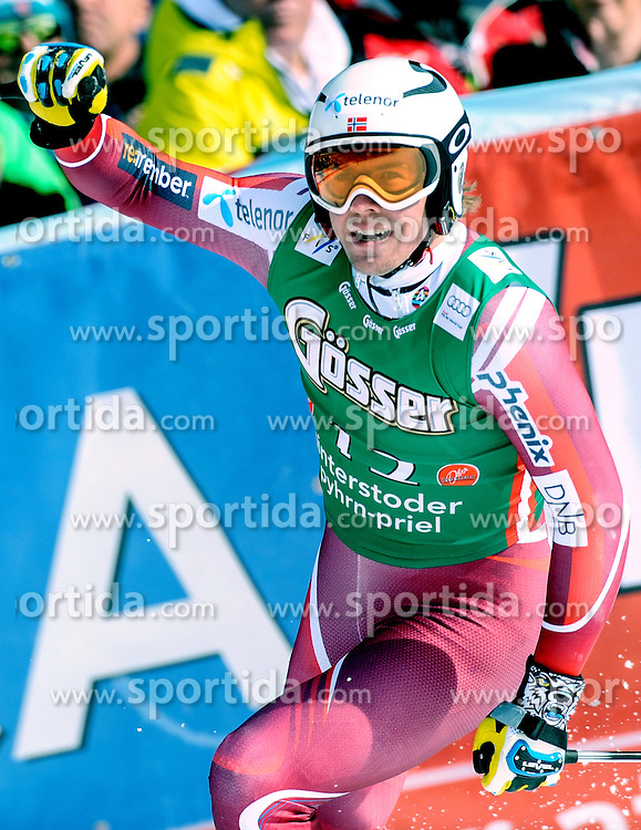 27.02.2016, Hannes Trinkl Rennstrecke, Hinterstoder, AUT, FIS Weltcup Ski Alpin, Hinterstoder, Super G, Herren, im Bild Aleksander Aamodt Kilde (NOR) 1. Platz // Aleksander Aamodt Kilde of Norway ( winner) reacts after his run of men's Super G of Hinterstoder FIS Ski Alpine World Cup at the Hannes Trinkl Rennstrecke in Hinterstoder, Austria on 2016/02/27. EXPA Pictures © 2016, PhotoCredit: EXPA/ Erich Spiess